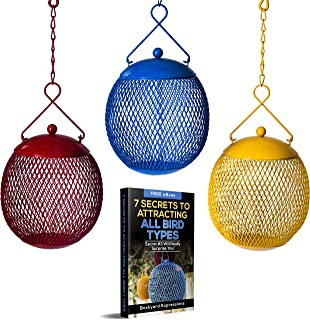 Backyard Expressions - Set of 3 Bird Feeders for Outdoors Squirrel Proof - Bonus Ebook Included Locking Lid Design!