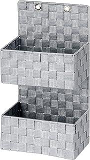 WENKO Organiseur de salle de bains Adria gris - panier de salle de bain, 2 étages, Polypropylène, 25 x 48 x 15.5 cm, Gris