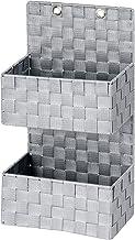 WENKO Organizer Adria szary do zawieszenia – kosz łazienkowy, 2 poziomy, polipropylen, 25 x 48 x 15,5 cm, szary