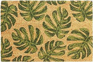 Nicola Spring Non-Slip Door Mat - Natural Coir Indoor Outdoor Welcome Mat - 90 x 60cm - Banana Leaf