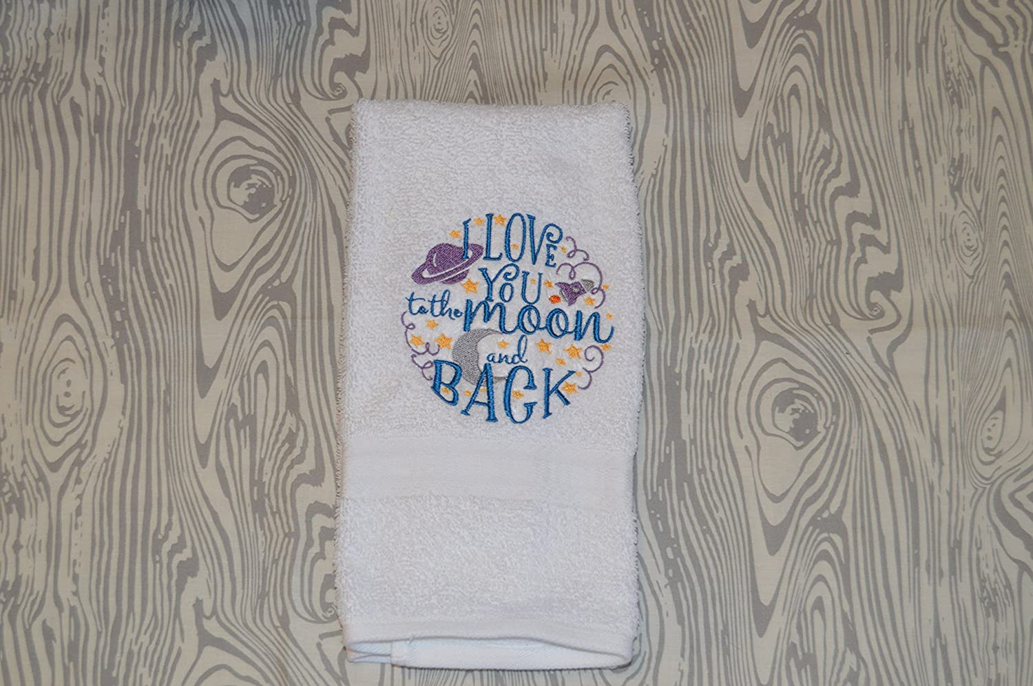 Machine Embroidered Bathroom Hand Max 79% OFF Towel Long Beach Mall I Moon a to the love you