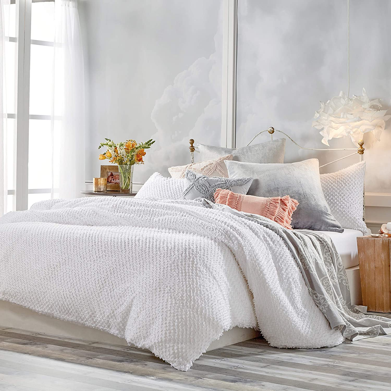 Peri Home 100% Cotton 2-Piece Comforter and Sham Set (White Dot Fringe, Twin)