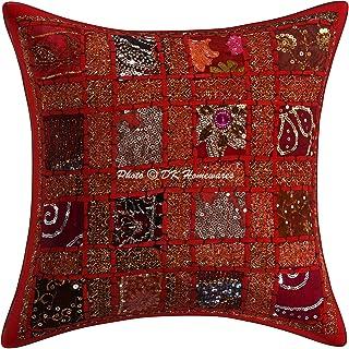 DK Homewares Traditionnelle Indien Brodé Patchwork Coton Géométrique Rouge Taie d'oreiller 40X40 Cm Cadeau De Noël 16 X 16...