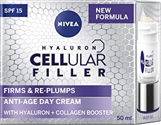 NIVEA Cellular Filler Anti Ageing Day Face Cream SPF15 (50ml), Face Moisturiser with Hyaluronic Acid & Collagen Booster fo...