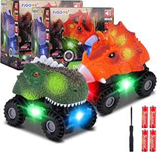 F FiGoal Dinosaur Cars with LED Light Sound Dino Car Toys Car Gifts Animal Vehicles for Boys Girls Toddles Kids Christmas ...
