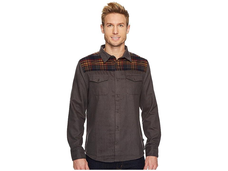 United By Blue Banff Plaid Yoke Wool Shirt (Navy Plaid/Solid Grey) Men