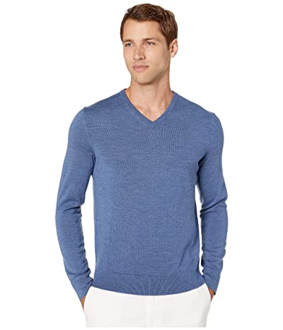 Calvin Klein Merino V-Neck Sweater 12 (Shuttle Heather) Men