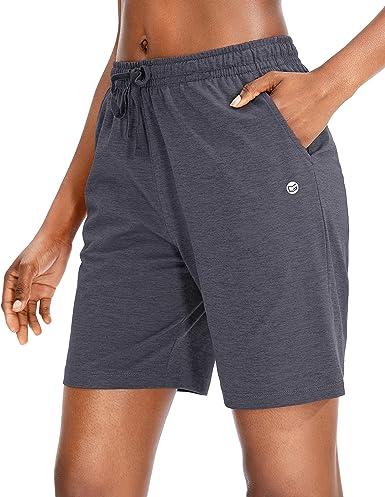 "G Gradual Women's Bermuda Shorts Jersey Shorts with Deep Pockets 7"" Long Shorts for Women Lounge Walking Athletic"