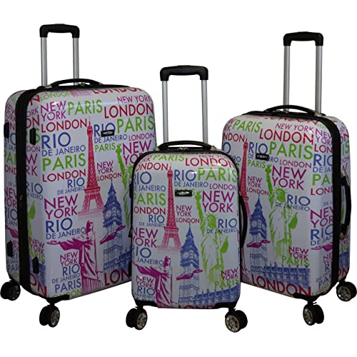 Kemyer 888 Vintage World Series Lightweight 3-PC Expandable Hardside Spinner Luggage Set (Eiffel