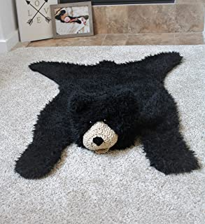 Faux Bear Rug Nursery Decor Blanket Rug Black Bear Rug (33 X 39 inches)