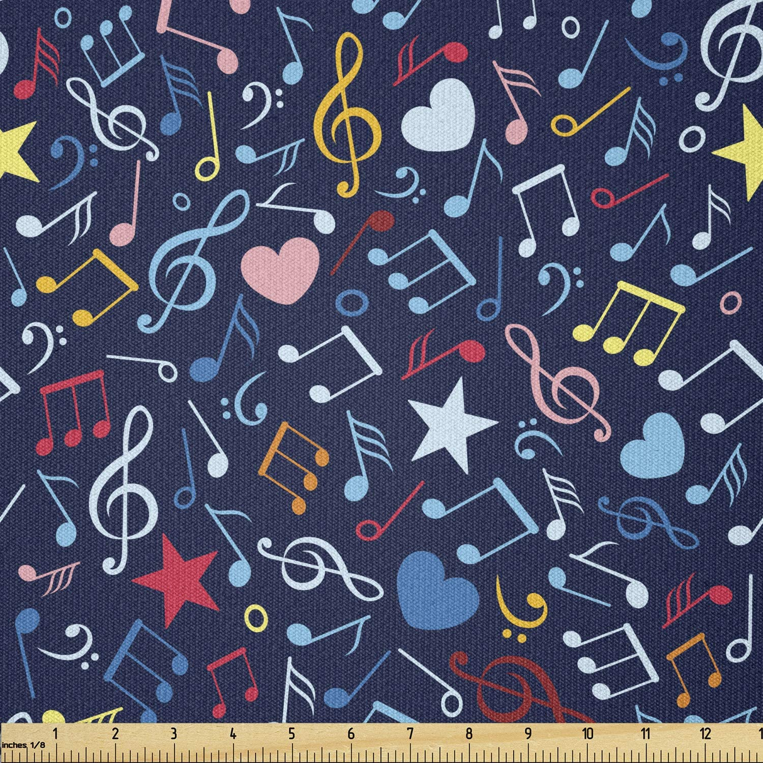 Ambesonne Music Fabric by The Yard, Hearts Notes Stars Melodic Inspiration Musical Lifestyle Rhythm in My Heart Design, Stretch Knit Fabric for Clothing Sewing and Arts Crafts, 1 Yard, Indigo Red