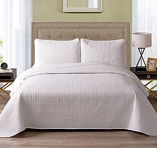 "Exclusivo Mezcla 3-Piece Microfiber Queen Size Quilt Set Lightweight Bedspread Coverlet Set, White, 92""x88"""