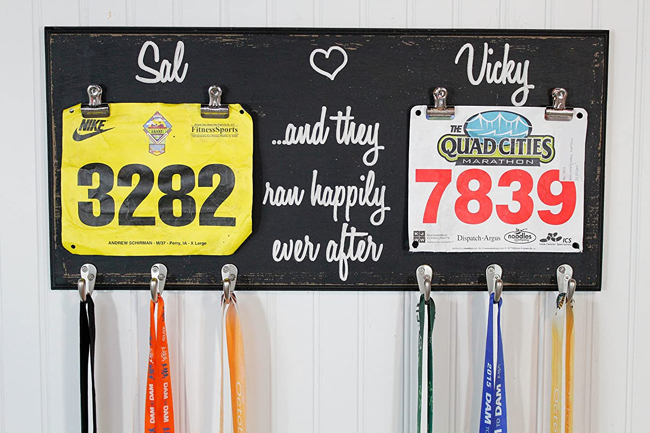 His and Hers Race Medal Holder With And They Ran Happily Ever After - Carved Sign - Running Medal Holder- Bib Holder