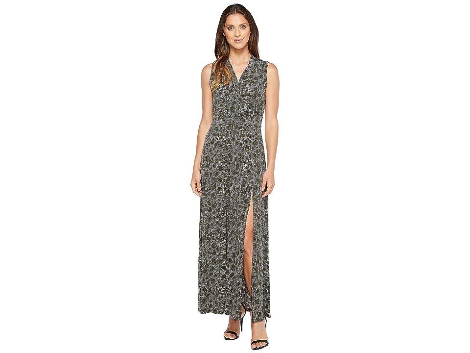 MICHAEL Michael Kors Augusta Slit Maxi Dress (Safari Green) Women