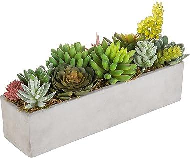 MyGift Faux Succulent Plant Arrangement in 12-Inch Gray Cement Pot