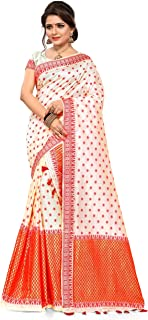 S Kiran's Women's Khadi Silk Saree With Unstitched Blouse Piece, Unstitched Mekhela & Chador (ADDn15Cream_Off-White)