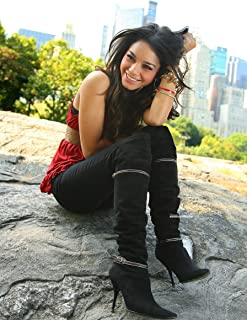 Vanessa Hudgens Red Tank Top Black Pants Boots Full Sexy Modeling Mid Photo (8 inch by 10 inch) PHOTOGRAPH TL