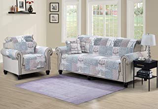 Patchwork Sofa Protector Slipcover 70 Inch Soft Pet Dog Proof Couch Furniture Cover Patterned Paris Print Reversible Quilted Layers, Enhanced Strap, Machine Wash Arm Chair Slip Cover for Kids, Latte
