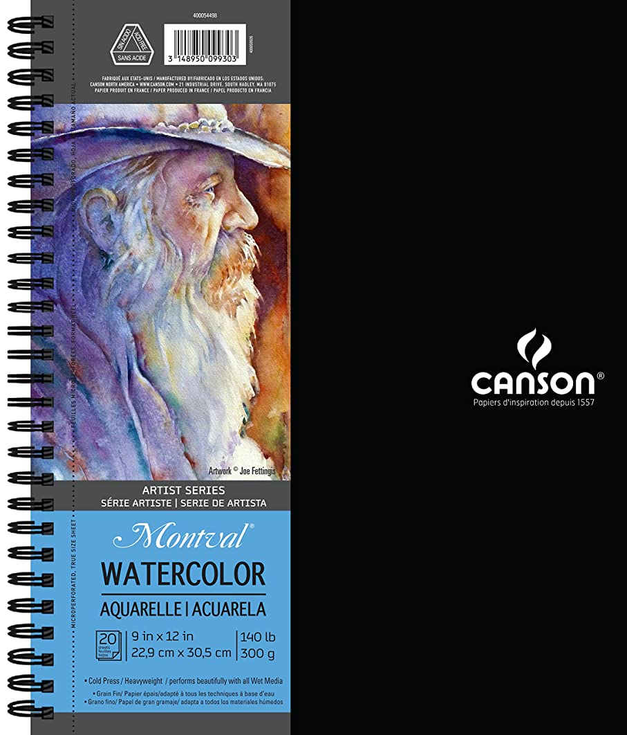 Canson Artist Series Montval Watercolor Paper Pad, Heavyweight Cold Press and Micro-Perforated, Side Wire Bound, 140 Pound, 9 x 12 Inch, 20 Sheets (400054498)