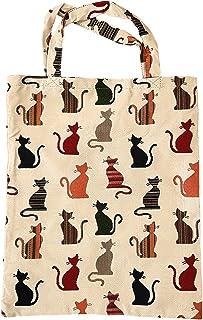ILKADIM Einkaufstasche, Stofftasche Leinen 40 x 32cm, Motiv auswählbar, Einkaufsbeutel Gobelin-Stil