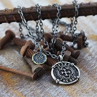 Mens Jewelry Necklace Black Chain Carpe Diem Pendant Silver Coin Necklace Men's Necklace Mens Gift Necklace For Men Jewelry For Men Boyfriend Gift Man Necklace Black Necklace Men