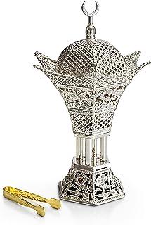 AM Bakhoor Charcoal Incense Burner - Oud Frankincense Resin Burner 10.5 Inches Tall - for Bakhoor Oud Incense Sticks Cones - Luxury Filigree, Silver