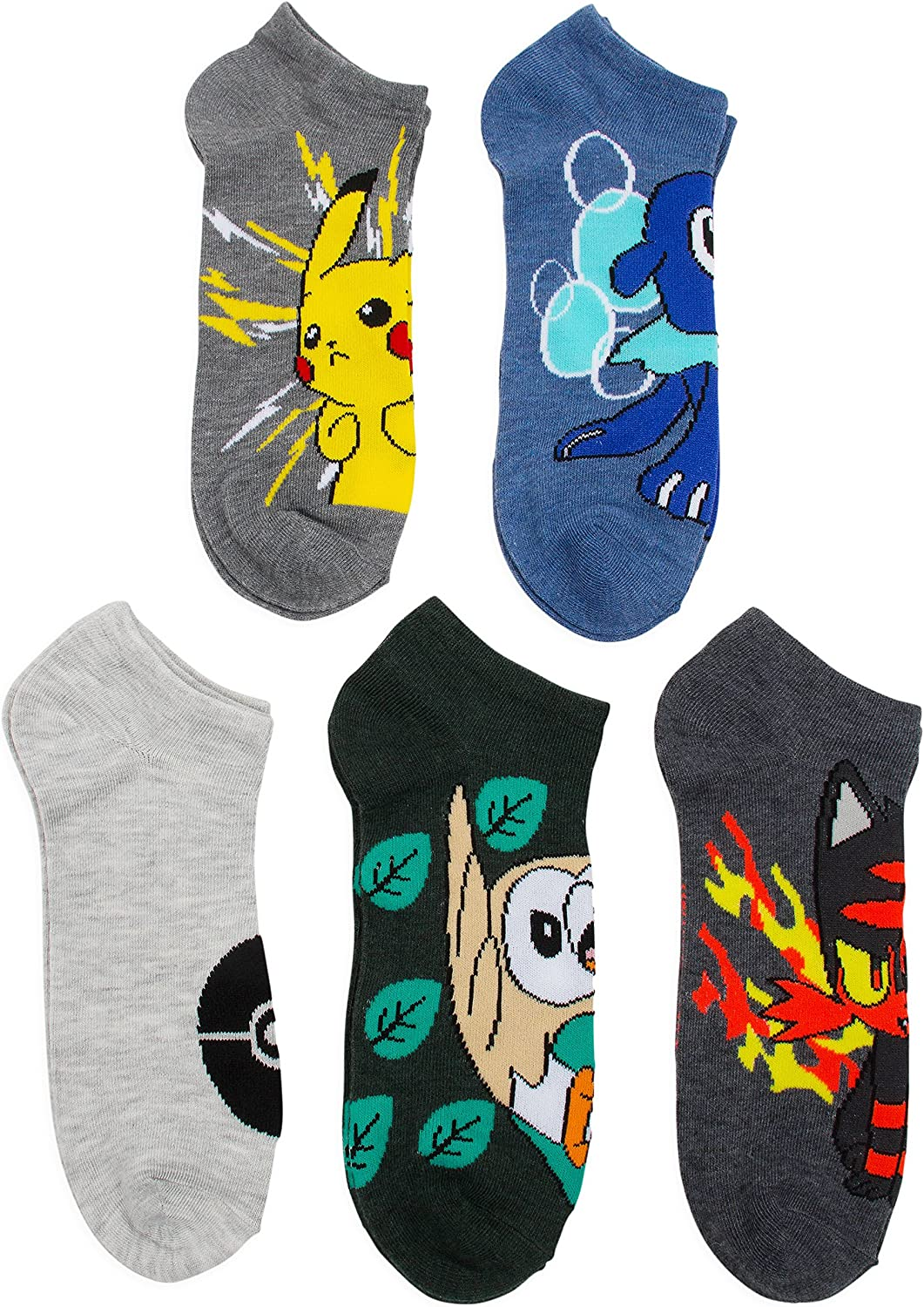 Pokemon Boys 5 Pack No Show Socks