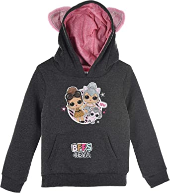 LOL Girls Fleece Hoodie Hooded Sweatshirt Jumper with Ears for Girls 4-10 Years