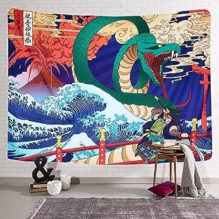 Simpkeely Ukiyo-e Japanese Legendary Snake Tapestry, Animal Tapestry Wall Hanging Sea Wave Koi Japanese Art Décor for Dorm Bedroom Living Room in 59 x 80 Inches