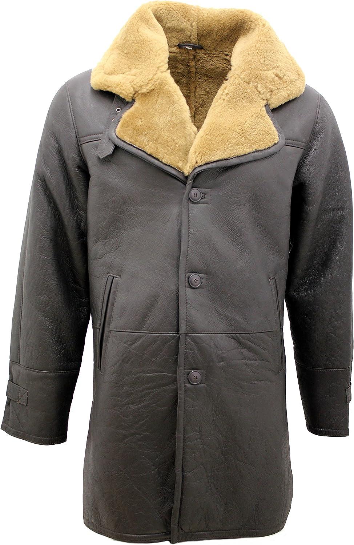 Men's Brown Vintage Shearling Ginger Sheepskin Leather Coat with Belt
