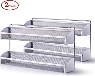 2 Pack- Simple Trending 2 Tier Spice Rack Organizer, Wall Mounted Spice Shelf Storage Holder for Kitchen Cabinet Pantry Door, Silver