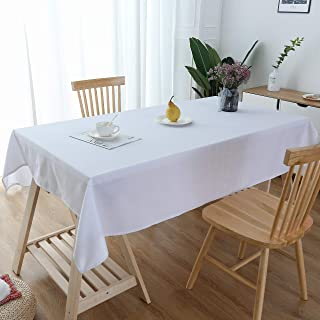 Lespoir Cotton Tablecloths Fabric for Rectangle Tables White Cotton Tablecloth Fabric Tablecloth Cotton Tablecloths for Rectangle Tables 54x102 Inch