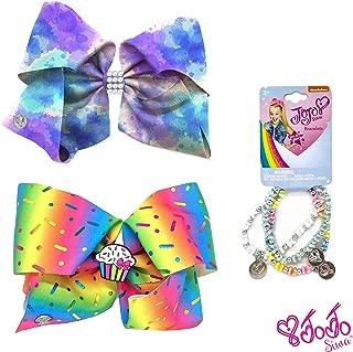 Jojo Siwa Girl's Bow Set 2 Bows and 3 Pack of Bracelets - Rainbow Sprinkles Cupcake Keeper, Purple Tye Dye