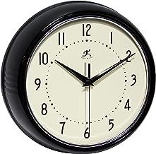 Infinity Instruments Round Retro Wall Clock, Black