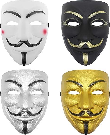 Udekit Hacker Mask V for Vendetta Mask for Kids Women Men Halloween Costume Cosplay