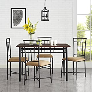 BLOSSOMZ* Dining Set 5-Piece Sturdy Steel Table with Wood top 4 Chairs with upholstered Seats