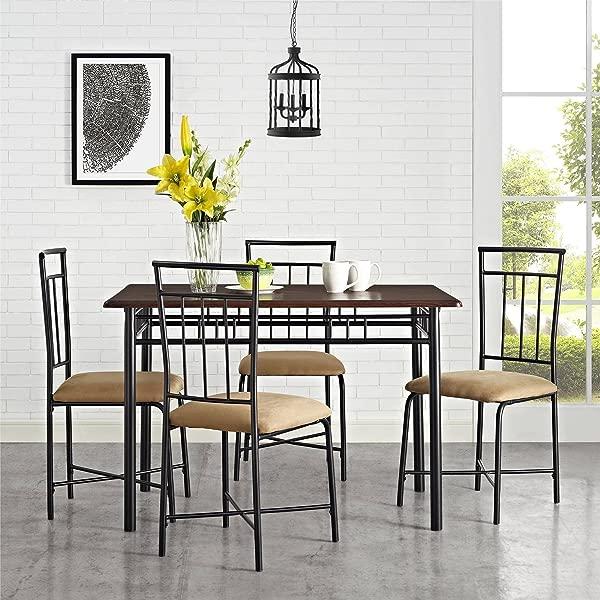 BLOSSOMZ 餐厅套装 5 件套坚固的钢桌,配有木质顶部 4 把椅子,配有软垫座椅