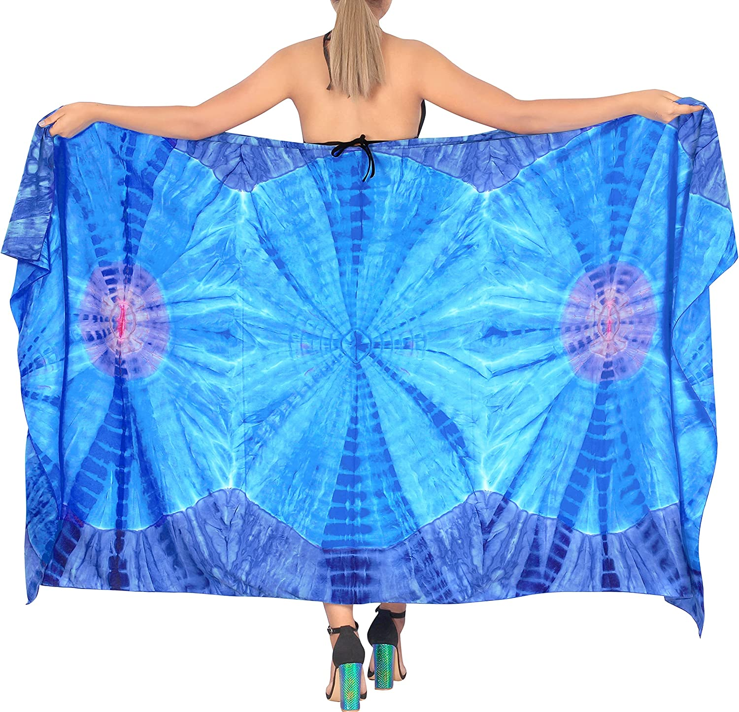 LA LEELA Women's Summer Tie Dye Swimsuit Cover-Ups Sarong in Variety of Colors