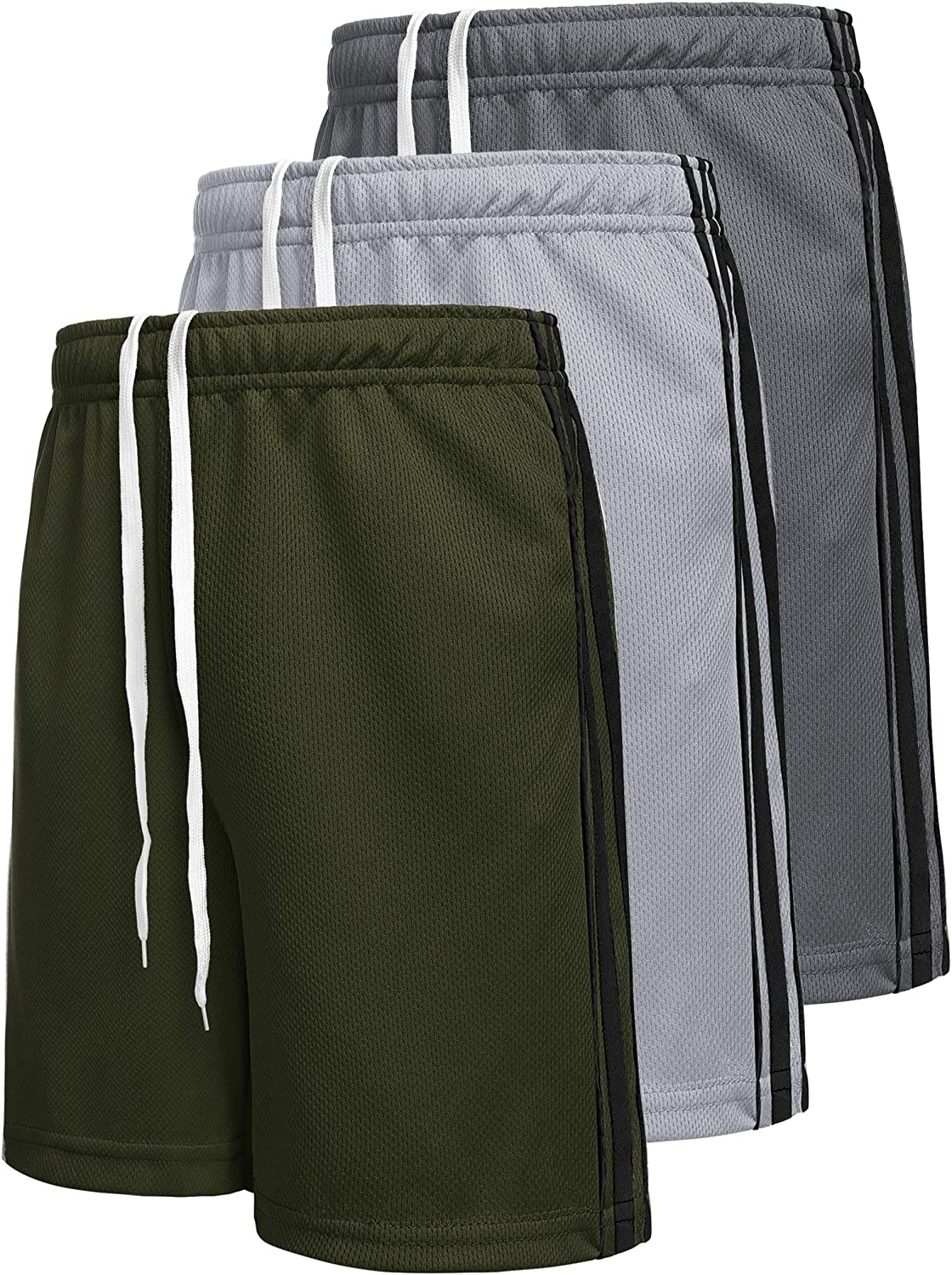 Boyoo Big Boys Youth 3 Pack Fast Dry Athletic Performance Shorts Mesh Active Basketball Shorts with Pockets: Clothing