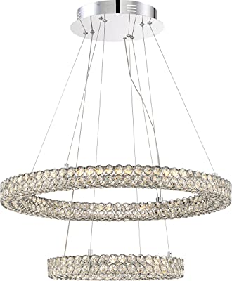 "Quoizel PCIN1828C Infinity Crystal Floating Ring Pendant Lighting, 1-Light, LED 32 Watts, Polished Chrome (10"" H x 28"" W)"