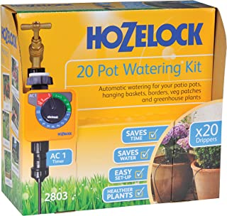 Hozelock Ltd 20 Pot Watering Kit Including AC1 Timer which Has 13 Pre-set Programs to Supply Water From Once Per Day, to Up to Four Times a Day