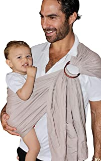 Hip Luxury Baby Wrap Ring Sling Carrier - Made of Extra-Soft Organic Bamboo and Linen Fabric - Perfect Baby Shower Gift - Great for New Dad - for Newborns, Infants and Toddlers - Nursing Cover