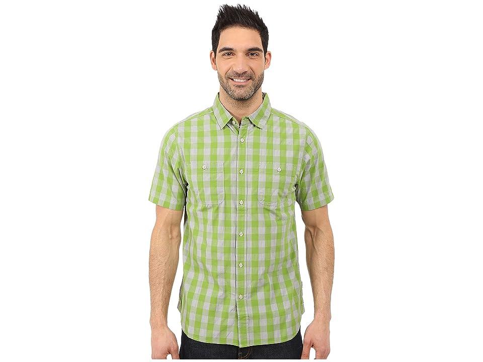 The North Face Short Sleeve Marled Gingham Shirt (Vibrant Green Plaid (Prior Season)) Men
