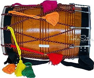 Dhol Drum by Maharaja Musicals, Mango Wood, Natural, Barrel Shaped, Padded Bag, Beaters, Nylon Shoulder Strap, Punjabi Bhangra Dhol Musical Instrument (PDI-GE)