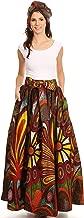 Sakkas Asma Convertible Traditional Wax Print Adjustable Strap Maxi Skirt   Dress