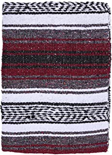 El Paso Designs Genuine Mexican Falsa Blanket - Yoga Studio Blanket, Colorful, Soft Woven Serape Imported from Mexico (Burgundy)