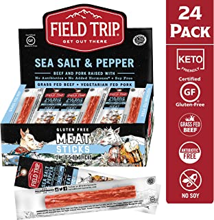 Field Trip Pork and Beef Jerky Sticks | Keto Gluten Free Jerky, Low Carb, Healthy High Protein Snacks with No Nitrates, Made with All Natural Ingredients | Sea Salt & Pepper | 0.5oz, 24 Count