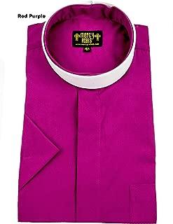 Mens RED Purple Short Sleeve Full Collar Neckband Clergy Shirt