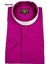 Mercy Robes Mens RED Purple Short Sleeve Full Collar Neckband Clergy Shirt