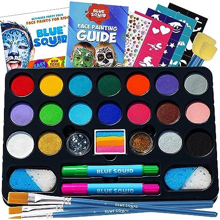 Amazon Com Face Painting Kit For Kids 32 Stencils 8 Water Based Face Paint Colors 2 Brushes 2 Glitters 2 Sponges 2 Applicators Video Tutorials Ebook 100 Safe